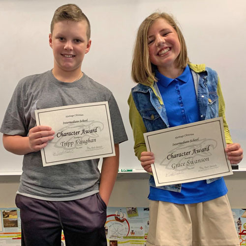Two 6th Grade Students Receive Awards for Outstanding Character